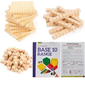 Blocks MAB Wooden 10 Hundreds, 10 Tens & 50 Ones & Guide Place Vlalue Guide