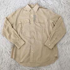 NWT $595 Ralph Lauren Black Label 100% Silk Gold Button Up Blouse Top Womens 8