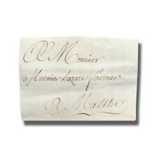 1789 Paris France to Malta Entire Letter Cover Postal History #004908