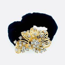 USA Ponytail holder Elastic Rhinestone Crystal Hair Tight Rope Gold Flower 2-5