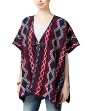 Tommy Hilfiger Southwestern Printed Poncho Aztec Blue Red One Size Os Native