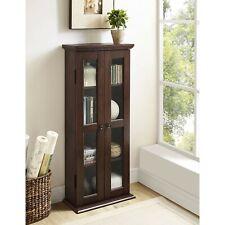 Rustic Wooden Media Cabinet Brown Cd Dvd Storage Shelf Tower Glass Door Display
