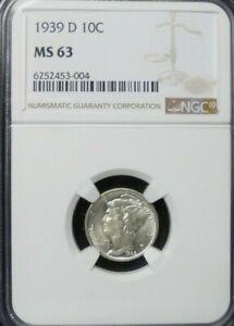 1939-D  MERCURY DIME NGC MS63