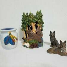 Vintage Wolf & Native American Feathers Candle Holder Wolves Ceramic
