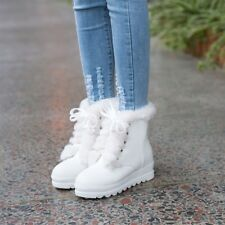 Winter Snow Boots Womens Girls Warm Furry Lace Up Hidden Wedge Heels Ankle Boots