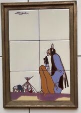 MURAL TILE ART CERAMIC HAND-PAINTED PLAQUE FRAMED TECOLOTE TILES OF SANTA FE