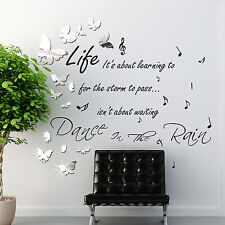 Quote Rain Home Bedroom Decal Paper Art Decoration Wall Stickers Mural Dance