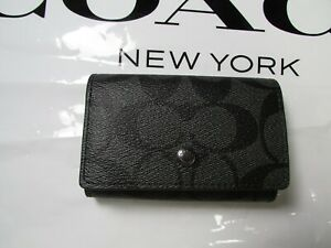 NWT Coach Signature Canvas Five Ring Key Case F78675 Charcoal