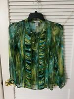 LAURA MAX Lightweight Sheer Long Sleeve Beaded Tunic Blouse Size Petite Medium