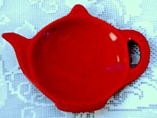 Collectible Red Teapot Shaped Hand Glazed Ceramic Teabag/Tea Bag Caddy / Holder