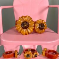 Rust Bakelite Clamper, Hinged Bracelet with Deeply Carved & Overdyed Flowers