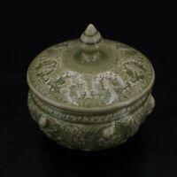 Thai Celadon Goddess Bowl Dish Vintage Glaze Olive Green Pottery with Lid