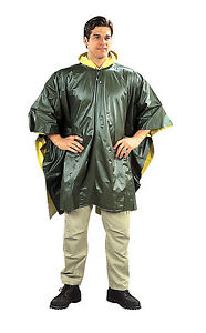 Rain Ponchos - Reversible Rain Coat Rain Jacket w/ Hood - OD/Yellow, Blue/Yellow