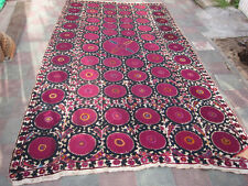 ANTIQUE UZBEK SILK HAND MADE- EMBROIDERED SUZANI 400x225-cm / 157.4x88.5-inches