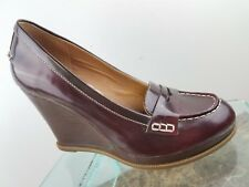 Sperry Top-sider Red Leather Closed Toe Wedge Slip on Classic Pumps Womens 7M