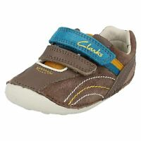 NEW CLARKS BOYS TINY DEXTON BROWN LEATHER FIRST SHOES UK SIZE 2G