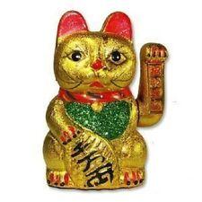 Maneki Neko Lucky Cat 8 inch Tall Japanese Beckoning Lunar Fortune Chinese Gold