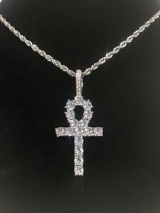 """18K White Gold Plated ANKH Cross Iced Pendant W/ 22"""" 3mm Stainless Rope Chain"""