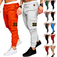 Mens Cargo Trousers Elastic Waist Tracksuit Bottoms Joggers Pants Gym Sweatpants