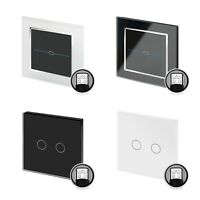 RetroTouch Crystal Glass Black White Touch Remote On/Off + Dimmer Light Switch