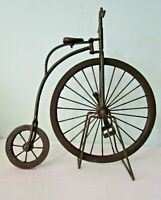 Primitive Metal Antique Bicycle Statue with Stand Articulated Patina EUC
