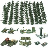 Kids Military Soldiers Army Men Figures Toys Set 12 Poses Aircraft Tanks Gifts