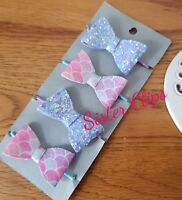 Girls Handmade 4 baby/toddler small mermaid/lilac  Glitter Hair Bow bobbles