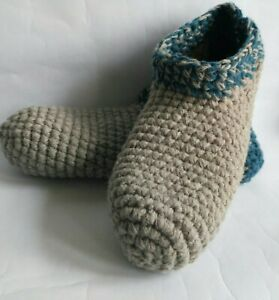 Men`s crochet wool slippers/ Gray blue / Size 13.5 USA, Soft house slippers