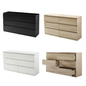Chest of Drawers White|Black|Oak Bedroom Furniture Tall Wide Storage 6 Drawer
