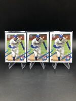 Lot of (3) Leody Taveras Rangers Rookie Card RC 2021 Topps Series 1 Base #264