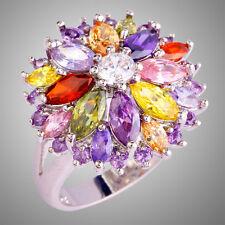 Peridot & Pink & White Topaz & Multi Stone Gems Silver Rings Size N P R T V Y Z