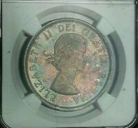 1964 Canada SILVER Dollar NGC MS64 MONSTER Colorful RAINBOW Toned UNC BU (DR)