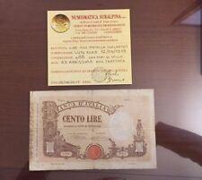 BANCONOTA LIRE 100 MATRICE DECRETO 12 5 1919 RARISSIMA certificata qBB SABAUDA