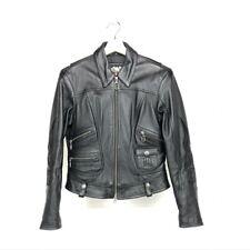 Woman's Harley Davidson Leather Jacket Black Embellished Sleeves and Back