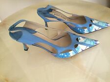 """Authentic Manolo Blahnik fabric/leather 3"""" heel blue pointed toe slingback, size"""