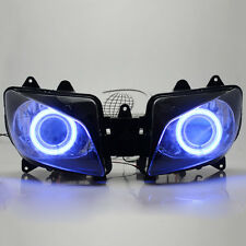 Set Blue Angel Eyes Projector HID Assembly Headlight For Yamaha YZF R1 2000-2001