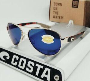 COSTA DEL MAR gold-tortoise/blue mirror LORETO POLARIZED 580P sunglasses! NEW!