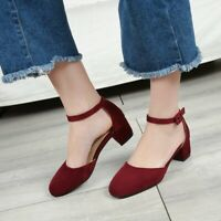 Women Ankle Strap Low Heels Mary Janes Elegant Casual Party Cocktail Suede Shoes