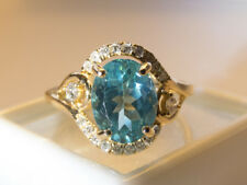 Absolutely GORGEOUS Tropical Blue 14K YG  Apatite and Diamond Ring, siz 6.5