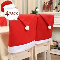4X Chair Back Cover Santa Claus Hat Christmas Dinner Table Seat Xmas Party Decor