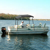 """4 BOW BIMINI PONTOON DECK BOAT COVER TOP 54-60"""" GRAY 8' FT INCLUDES HARDWARE"""