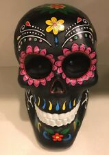 """Large 9"""" Tall Halloween Decor Sugar Skull With Green Eyes That Light Up"""