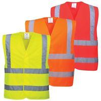 Portwest Hi-Vis Two Band & Brace Vest Safety Lightweight Reflective Tape C470