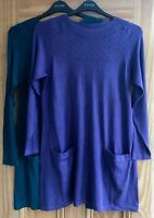 EVANS New Purple Teal Green Textured Pocket Tunic Jumper Dress Top Size 16 - 30