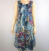 Deerberg Womens S Multicolor Dress Sleeveless Slit Sides Abstract Print Casual