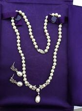 10K White Gold Pearl & Diamond Drop Necklace Matching Earrings Floral Stunning!