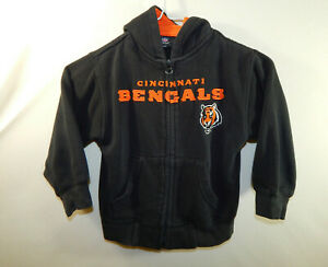Cincinnati Bengals NFL Football Zip Up Hooded Sweatshirt Boys Size KIDS SMALL 4