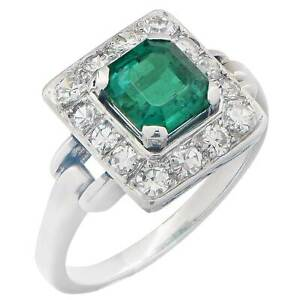 White Gold Plated Diamond Ring Sterling Silver Full Cut Emerald Women Jewelry
