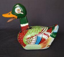 Vintage Daiya 1950s Duck Toy Tin Litho Friction Powered Head Moves Colorfu
