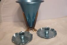 ART DECO MCCLLELAND BARCLAY BLUE ALUMINUM CONSOLE SET VASE & CANDLE HOLDERS